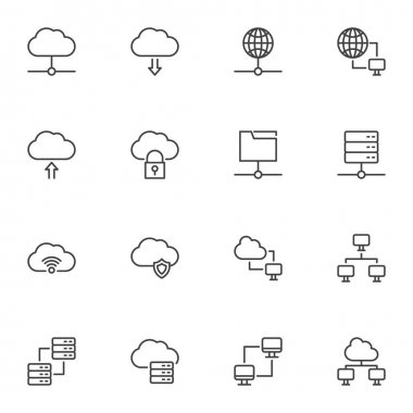 Cloud computing line icons set, outline vector symbol collection, linear style pictogram pack. Signs, logo illustration. Set includes icons as computer network technology, database server connection icon