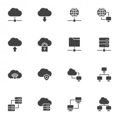 Cloud computing vector icons set, modern solid symbol collection, filled style pictogram pack. Signs, logo illustration. Set includes icons as computer network technology, database server connection icon
