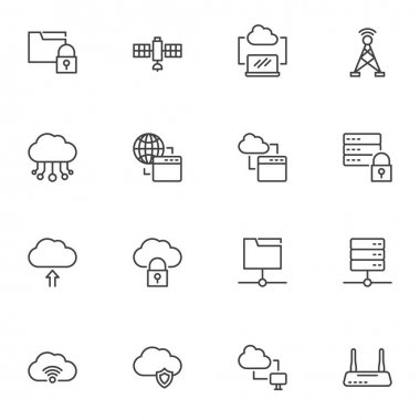 Computer network technology line icons set, outline vector symbol collection, linear style pictogram pack. Signs, logo illustration. Set includes icons as data network connection, database server icon