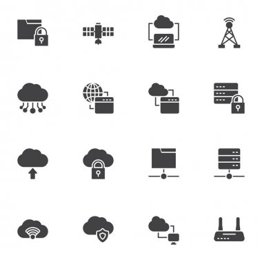 Computer network technology vector icons set, modern solid symbol collection, filled style pictogram pack. Signs, logo illustration. Set includes icons as data network connection, database server icon