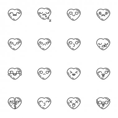 Heart shape emoticon line icons set, outline vector symbol collection, linear style pictogram pack. Signs, logo illustration. Set includes icons as valentines day chat emoji, smiley heart, happy love icon