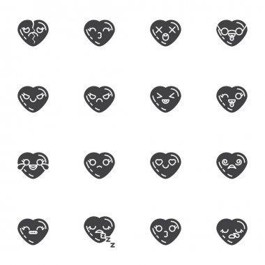 Heart shape emoticon vector icons set, modern solid symbol collection, filled style pictogram pack. Signs, logo illustration. Set includes icons as valentines day chat emoji, smiley heart, happy love icon