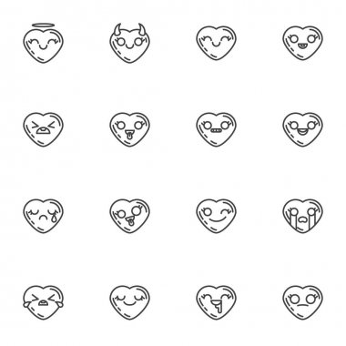 Heart shape emoji line icons set, outline vector symbol collection, linear style pictogram pack. Signs, logo illustration. Set includes icons as smiley heart, love and valentines day emoticons icon