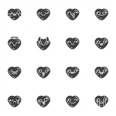 Heart shape emoji vector icons set, modern solid symbol collection, filled style pictogram pack. Signs, logo illustration. Set includes icons as smiley heart, love and valentines day emoticons icon