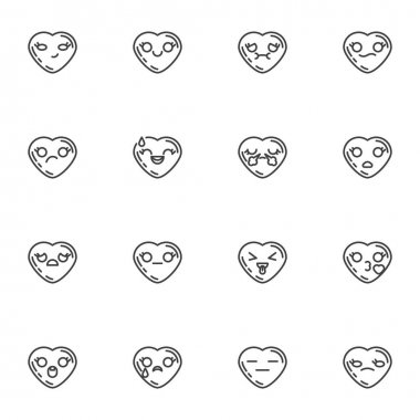Valentines day emoji line icons set, outline vector symbol collection, linear style pictogram pack. Signs, logo illustration. Set includes icons as heart shape emoticons, romantic love chat emoji icon