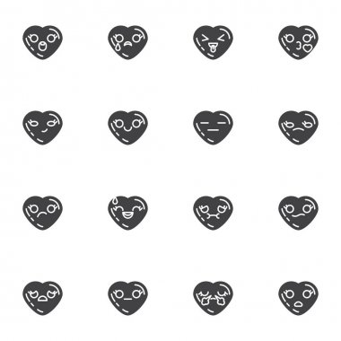 Valentines day emoji vector icons set, modern solid symbol collection, filled style pictogram pack. Signs, logo illustration. Set includes icons as heart shape emoticons, romantic love chat emoji icon
