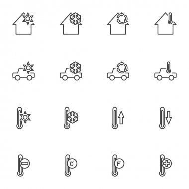 Heating cooling system line icons set, outline vector symbol collection, linear style pictogram pack. Signs logo illustration. Set includes icons - home temperature conditioning, car climate control icon