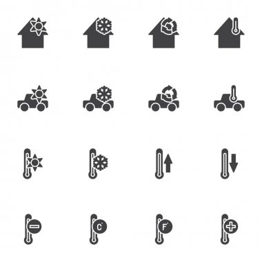 Heating cooling system vector icons set, modern solid symbol collection, filled style pictogram pack. Signs logo illustration. Set includes icons - home temperature conditioning, car climate control icon