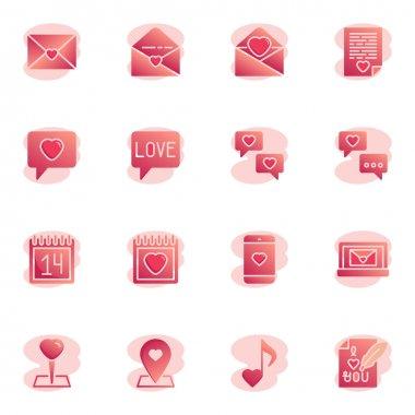 Valentines day dating elements collection, flat icons set, Colorful symbols pack contains - love message, invitation, calendar day, romantic music, heart pin. Vector illustration. Flat style design icon