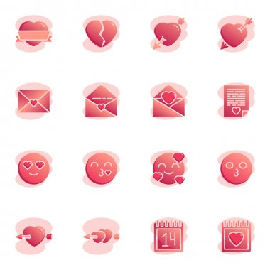 Valentines day hearts collection flat icons set, Colorful symbols pack contains - romantic emoji blow kiss, valentines calendar day, broken heart, email message. Vector illustration. Flat style design icon