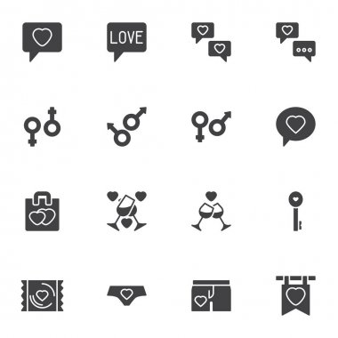 Love Valentines day vector icons set, modern solid symbol collection, filled style pictogram pack. Signs, logo illustration. Set includes icons as love message, sex gender, champagne glass icon