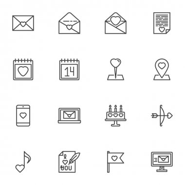 Valentines day line icons set, outline vector symbol collection, linear style pictogram pack. Signs, logo illustration. Set includes icons as love letter, calendar day, email message, romantic music icon