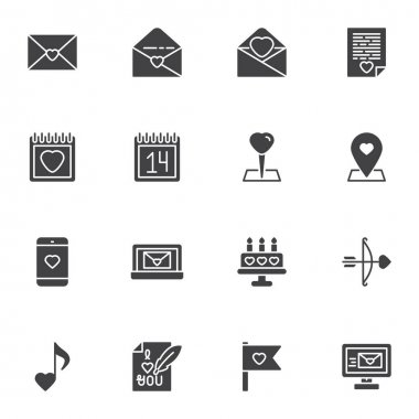 Valentines day vector icons set, modern solid symbol collection, filled style pictogram pack. Signs, logo illustration. Set includes icons as love letter, calendar day, email message, romantic music icon