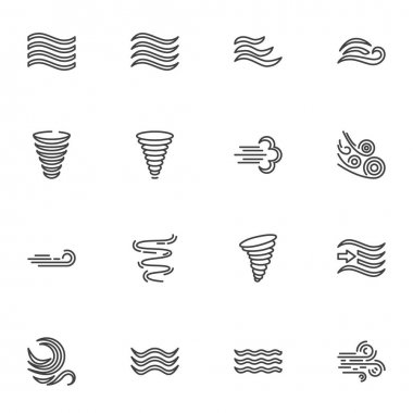 Weather wind line icons set, outline vector symbol collection, linear style pictogram pack. Signs, logo illustration. Set includes icons as meteorology, wind blow, hurricane tornado, fresh air waves icon