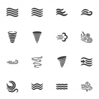Weather wind vector icons set, modern solid symbol collection, filled style pictogram pack. Signs, logo illustration. Set includes icons as meteorology, wind blow, hurricane tornado, fresh air waves icon