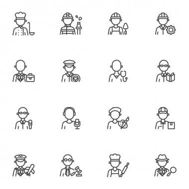 People profession line icons set, outline vector symbol collection, linear style pictogram pack. Signs, logo illustration. Set includes icons as men and women people workers, professional work uniform icon