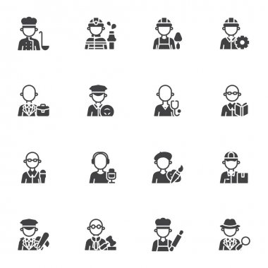 People profession vector icons set, modern solid symbol collection, filled style pictogram pack. Signs, logo illustration. Set includes icons as men and women people workers, professional work uniform icon