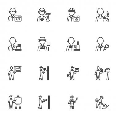 People profession and occupation line icons set, outline vector symbol collection, linear style pictogram pack. Signs, logo illustration. Set includes icons as foreman worker, programmer, delivery man icon