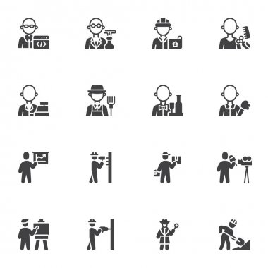 People profession and occupation vector icons set, modern solid symbol collection, filled style pictogram pack. Signs, logo illustration. Set includes icons as foreman worker, programmer, delivery man icon