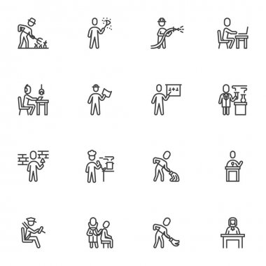 Working people line icons set, outline vector symbol collection, linear style pictogram pack. Signs, logo illustration. Set includes icons as people professions, farmer, office worker, doctor, lawyer icon
