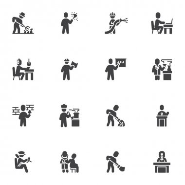 Working people vector icons set, modern solid symbol collection, filled style pictogram pack. Signs, logo illustration. Set includes icons as people professions, farmer, office worker, doctor, lawyer icon