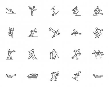 Winter sport line icons set. linear style symbols collection, outline signs pack. vector graphics. Set includes icons as ski jumping, figure skating, snowboarding, curling, biathlon racing, ice hockey icon