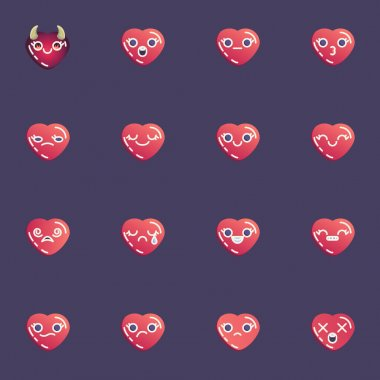 Red hearts emoticon collection, heart emoji flat icons set, Colorful symbols pack contains - smiling face, happy smiley, kissing, crying, sad, shock expression. Vector illustration. Flat style design icon