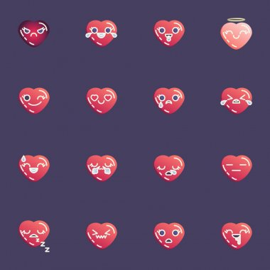 Red hearts emoji collection, heart emoticon flat icons set, Colorful symbols pack contains - valentine day chat emoji, happy smiley face, kissing, crying, sad. Vector illustration. Flat style design icon