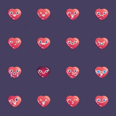 Hearts emoticon collection, heart emoji flat icons set, Colorful symbols pack contains - angry face, happy smiley, laughing, crying, sad, sleeping, love emotion. Vector illustration. Flat style design icon