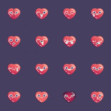 Hearts emoji collection, red heart emoticon flat icons set, Colorful symbols pack contains - broken love, crying, smiling, happy smiley, unhappy face, blow kiss. Vector illustration. Flat style design icon
