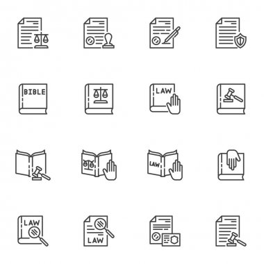 Law and justice line icons set, legal documents outline vector symbol collection, linear style pictogram pack. Signs, logo illustration. Set includes icons as law book, bible, judge gavel, stamp icon