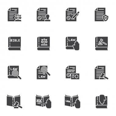 Law and justice vector icons set, legal documents modern solid symbol collection, filled style pictogram pack. Signs, logo illustration. Set includes icons as law book, bible, judge gavel, stamp icon