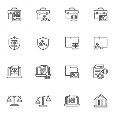 Justice and law line icons set, outline vector symbol collection, linear style pictogram pack. Signs, logo illustration. Set includes icons as legal documents, scales, judge gavel, courthouse, arrest icon