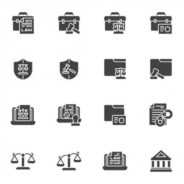 Justice and law vector icons set, modern solid symbol collection, filled style pictogram pack. Signs, logo illustration. Set includes icons as legal documents, scales, judge gavel, courthouse, arrest icon