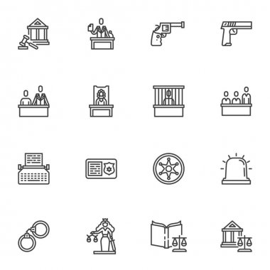 Law and judgement line icons set, outline vector symbol collection, linear style pictogram pack. Signs, logo illustration. Set includes icons as lawyer, criminal trial, prisoner arrest, evidence gun icon