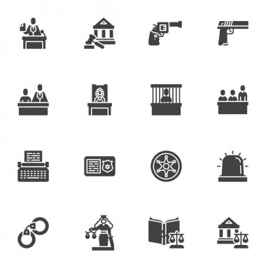 Law and judgement vector icons set, modern solid symbol collection, filled style pictogram pack. Signs, logo illustration. Set includes icons as lawyer, criminal trial, prisoner arrest, evidence gun icon