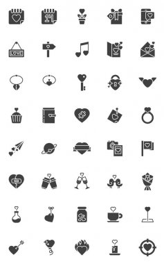 Valentines day vector icons set, modern solid symbol collection, filled style pictogram pack. Signs, logo illustration. Set includes icons as Valentines calendar day, love message, broken heart, cupid icon