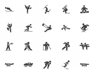 Winter sport vector icons set, modern solid symbol collection, filled style pictogram pack. Signs, logo illustration. Set includes ic ons as ski jumping, skating, snowboarding, biathlon, ice hockey icon
