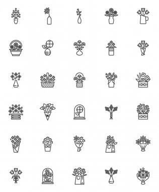 Flowers bouquets line icons set. linear style symbols collection, outline signs pack. vector graphics. Set includes icons as wrapped flowers bouquet, tulips, chamomile, lilies, floral basket, vase icon