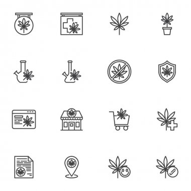 Marijuana, cannabis line icons set, outline vector symbol collection, linear style pictogram pack. Signs, logo illustration. Set includes icons as medical marijuana store, online cannabis shop, leaf icon