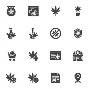 Marijuana, cannabis vector icons set, modern solid symbol collection, filled style pictogram pack. Signs, logo illustration. Set includes icons as medical marijuana store, online cannabis shop, leaf icon
