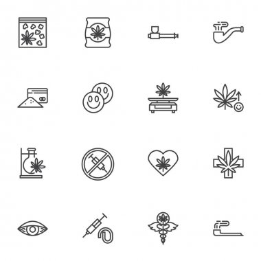 Marijuana drug line icons set, outline vector symbol collection, linear style pictogram pack. Signs, logo illustration. Set includes icons as medical marijuana, cannabidiol, smoking pipe, cannabis icon