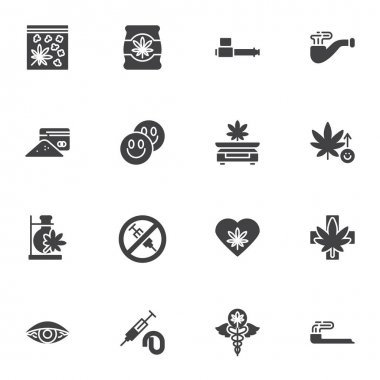 Marijuana drug vector icons set, modern solid symbol collection, filled style pictogram pack. Signs, logo illustration. Set includes icons as medical marijuana, cannabidiol, smoking pipe, cannabis icon