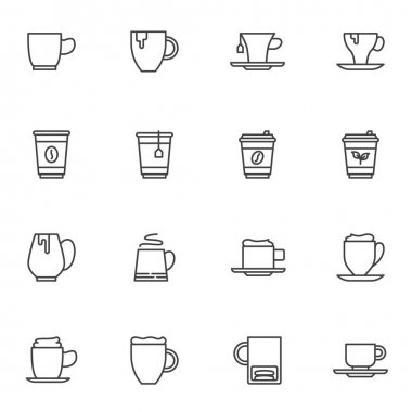 Coffee and tea line icons set, outline vector symbol collection, linear style pictogram pack. Signs logo illustration. Set includes icons as herbal tea cup, take away coffee mug, cappuccino, mocha cup icon