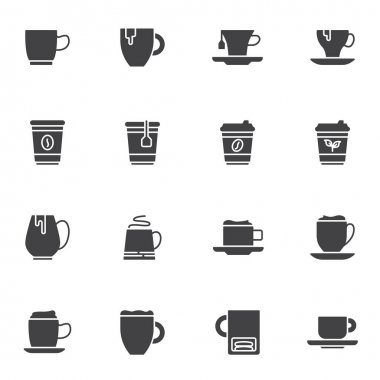 Coffee and tea vector icons set, modern solid symbol collection, filled style pictogram pack. Signs logo illustration. Set includes icons as herbal tea cup, take away coffee mug, cappuccino, mocha cup icon