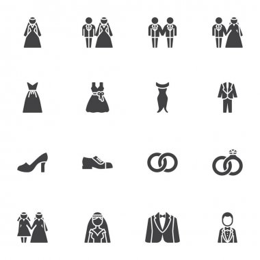 Wedding and marriage vector icons set, modern solid symbol collection, filled style pictogram pack. Signs, logo illustration. Set includes icons as tuxedo suit, bride and groom, bridal dress, ring icon
