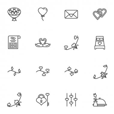 Valentine day line icons set, outline vector symbol collection, linear style pictogram pack. Signs logo illustration. Set includes icons - flowers bouquet, invitation card, heart balloon, love message icon