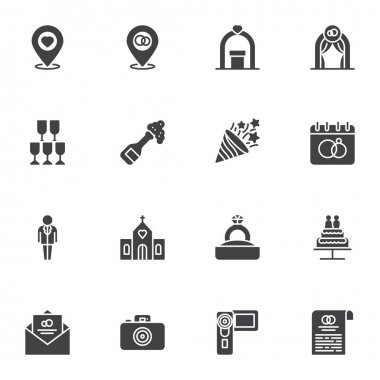 Wedding related vector icons set, modern solid symbol collection, filled style pictogram pack. Signs, logo illustration. Set includes icons as calendar date, champagne glass, wedding ring, invitation icon