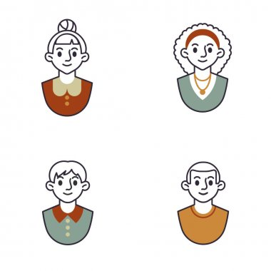 Man and woman portrait line icons set. linear style symbols collection, outline signs pack. Male and female avatars vector graphics. Set includes icons as smiling woman hairstyle, young man character icon