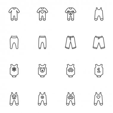 Newborn baby clothes line icons set, outline vector symbol collection, linear style pictogram pack. Signs, logo illustration. Set includes icons as boy and girl baby jumpsuit, romper suit, pants icon